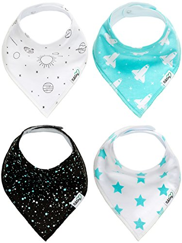 [Nikitony Baby Bandana Drool Bibs - Super Soft With Adjustable Snaps - More Absorbent Than Cheap Single Layer Bibs - Cute Boys Baby Shower Gift Set Of Space Style - 4] (Batman Outfit Baby)