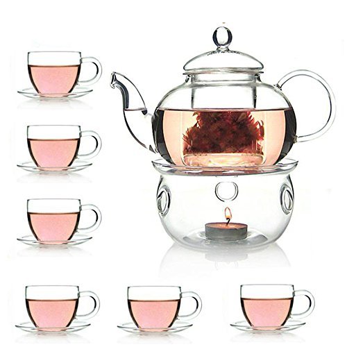 (Glass Filtering Tea Maker Teapot with a Infuser, a Warmer and Tea Cups )