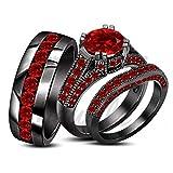 ArtLine Jewels 18K Black Gold Finish Red Garnet His/Her Engagement Wedding Trio Ring Set
