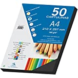 Dohe 30105 - Pack de 50 cartulinas, A4, color negro