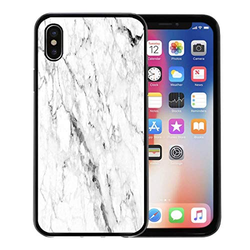 - Emvency Phone Case for Apple iPhone Xs case,White Marble Shot Through Deep Veining Natural Pattern Can Also Be Create Effect to Architectural Slab for iPhone X Case,Rubber Border Protective Case,Black