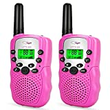 Friday Best Gifts Stocking Stuffer for 3-12 Year Old Girls, Long Range Two Way Radios 3-12 Year Old Girls Toys Handheld Mini Walkie Talkies for Kids Halloween Pink FDUSWT06