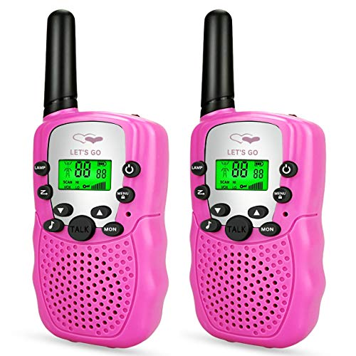 Friday Best Gifts for 3-12 Year Old Girls, Long Range Two Way Radios 3-12 Year Old Girls Toys Handheld Mini Walkie Talkies for Kids Pink -