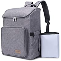 Lifewit Baby Diaper Nappy Travel Backpack for Baby Care with 3 Insulated Pockets/Side Tissue Pocket/Waterproof Changing Pad (Grey)