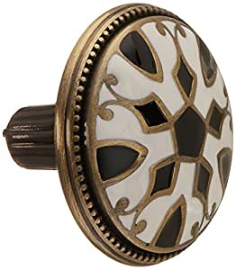 Atlas Homewares 3186-B/W 1.5-Inch Canterbury Knob from the Canterbury Collection Antique Brass material with Enameling Lacquer (Black/White)