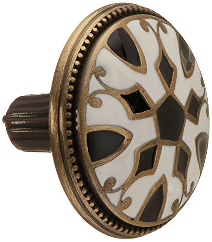 Atlas Homewares 3186-B/W 1.5-Inch Canterbury Knob from The Canterbury Collection, Antique Brass Material with Enameling Lacquer, Black and ()