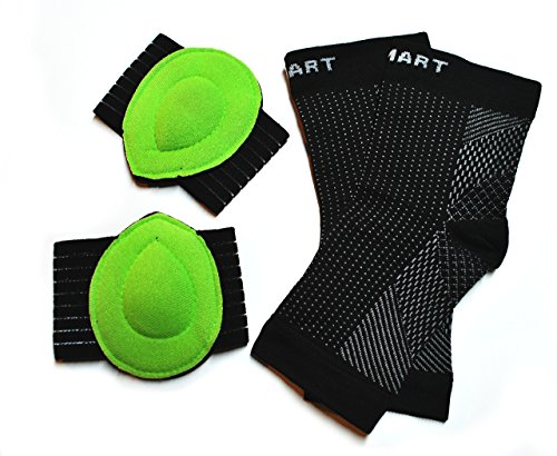 Plantar Fasciitis Compression Socks And Soothing Arch Pad Cushions (Pairs) | Proven Orthotic to Shoes, Sandals, Patches for Women and Men | Pain Relief for Feet and Heels with Arch Support (Black)