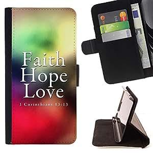 BullDog Case - FOR/Samsung Galaxy Note 3 III / - / CORINTHIANS 13:13 - FAITH LOVE HOPE /- Monedero de cuero de la PU Llevar cubierta de la caja con el ID Credit Card Slots Flip funda de cuer