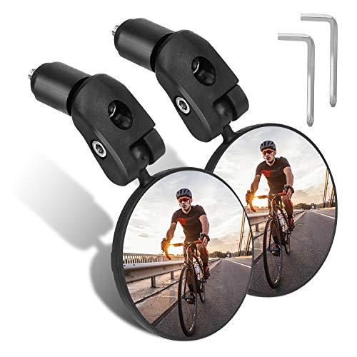 TAGVO Bar End Bike Spiegels, HD Groothoek Fiets Achteruitkijkspiegels, 360 Dregree Verstelbare Rotatie Stuur Convexe…