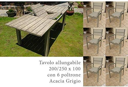 MilaniHome Juego Mesa Rectangular Extensible 200/250 x 100 con 6 ...