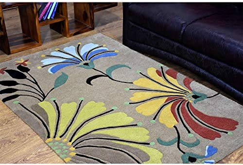Rugsotic Carpets Hand Tufted Wool 4'x6' Area Rug Floral Camel K00219