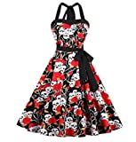 Summer Skull Head Printed Halter Retro Rockabilly Elegant Backless Party Dress Black XXXL
