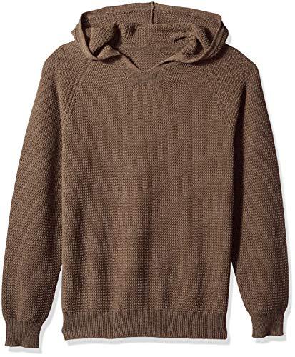 (The Knitwear Lab Men's 3D Textured Hoodie Pullover Sweater Bark Medium)