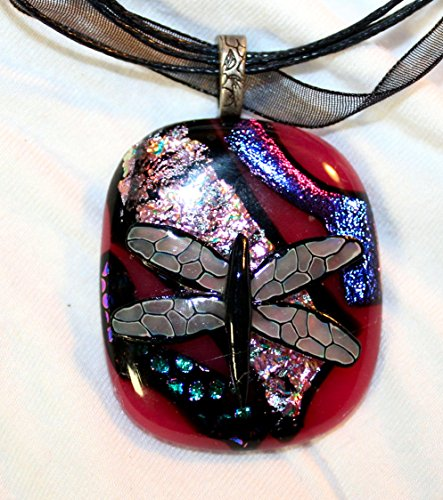 Polymer Clay Cane Work Necklace on dichroic fused glass on Organza cord with (Dichroic Glass Necklace)