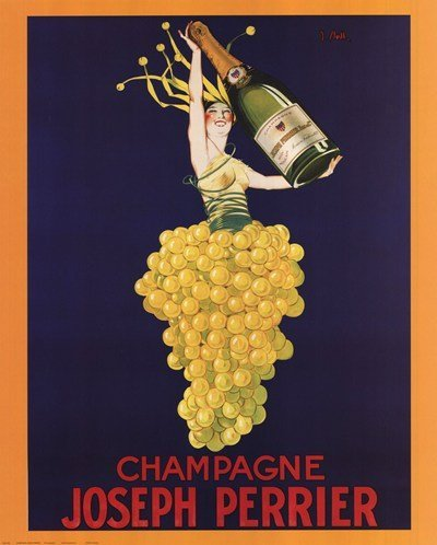 Laminated Champagne Joseph Perrier Poster 16 x 20in - Vintage French Wine