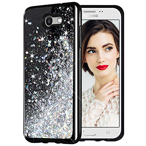 (Galaxy J7 2017 Case, Caka Starry Night Series Bling Glitter Flowing Floating Luxury Liquid Sparkle Soft TPU Case for Samsung Galaxy J7 Sky Pro Prime J7 V J7 Perx Halo 2017(AT T) (Silver))