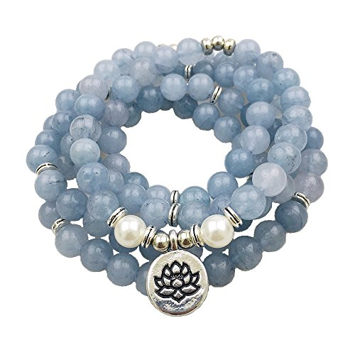 Throat Chakra Mala Blue Chalcedony Lotus Flower Charm Necklace 108 Beads 8mm Meditation Necklace Handmade