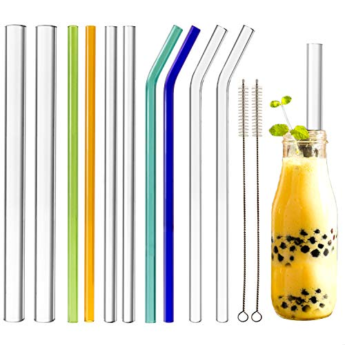 (Youngever Reusable Glass Straws Assortment, 9 x 3 Inch Different Widths 14mm, 10mm, 8mm, Straight and Bent, Color and Clear, Eco Friendly with Brush)