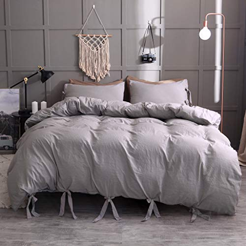 (Beyonds Microfiber Pure 3 Piece Bed Set Gray Three Bed Set for Deeper Sleep Includes x1 Duvet Cover x2 Pillowcases - Home School Bed Decor)