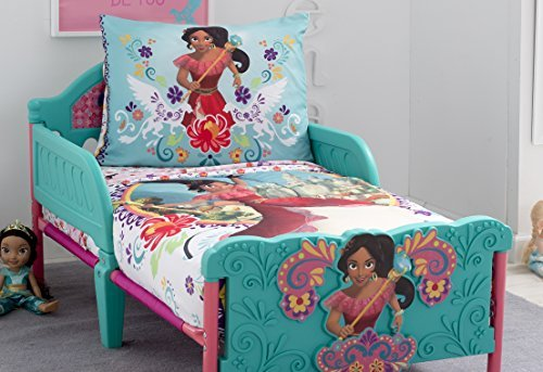 Disney Elena of Avalor Bold and Brave 4 Piece Toddler Bedding Set, Pink/Red/Turquoise/White by Disney