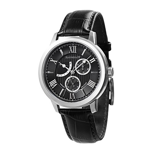 Thomas Earnshaw Men's 'CORNWALL' Quartz Stainless Steel and Leather Casual Watch, Color:Black (Model: ES-8060-01)