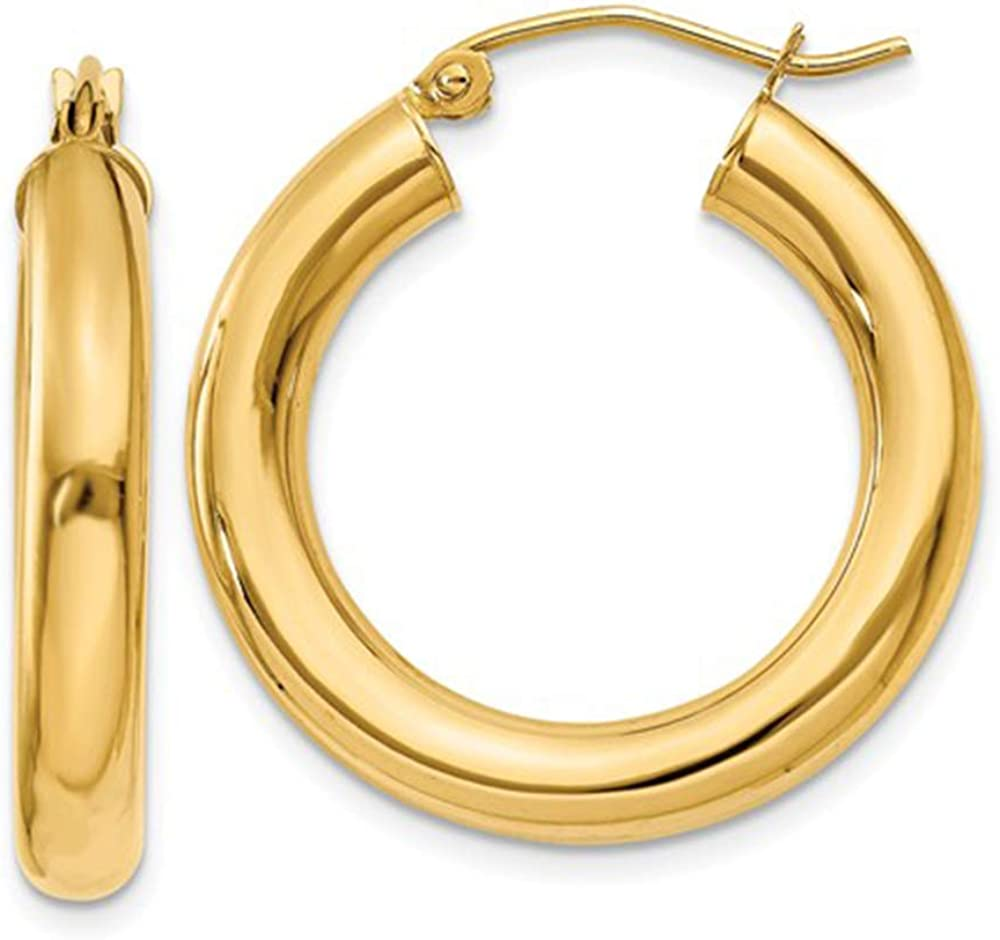 Large 14K Gold Thick Tube Hoop Earrings w/Click-Down Clasp, (4mm Tube)