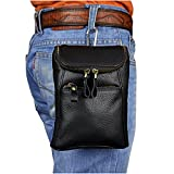 Le'aokuu Mens Genuine Leather Mini Messenger Shoulder Bag Pouch Hook Waist Bag Pack (The Black)