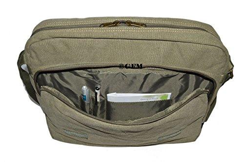 Lienzo bolso bandolera de boda de estilo clásico bolso bandolera para - School, college, Uni, oficina, viajar o para el Casual para accesorios del bebé ..Medium Size - Style 63 - Army Green (#HR631)