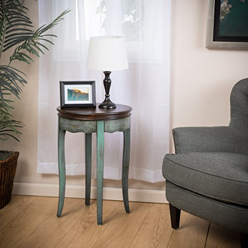 Clement Antique Green Brown Wood Accent Table For Sale
