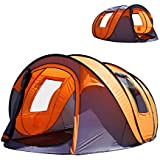 """Oileus Pop up Tents Camping 4 to 6 Person Tent Sky-Window(45""""x 25"""") Instant Camping Tent 14 Reinforced Steel Stakes & Carrying 114""""L 78""""W 51""""H"""