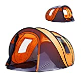 "Oileus Pop up Tents Camping 4 to 6 Person Tent Sky-Window(45""x 25"") Instant Camping Tent 14 Reinforced Steel Stakes & Carrying 114""L 78""W 51""H"