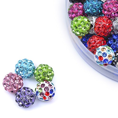 iCherry(TM) 10mm 100pcs/Lot Mixed Color Clay Pave Disco Ball for Rhinestone Crystal Shamballa Beads Charms Jewelry Makings (Beads Crystal Rhinestone)
