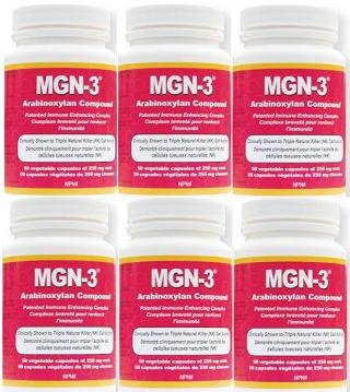 MGN-3 SIX BOTTLES 250mg -Regular Strength- BioBran Arabinoxylan Compound AHCC (50 Vegetarian Capsules) by Lane Labs (MGN3 MGN 3) Brand: Daiwa Health Development by MGN-3