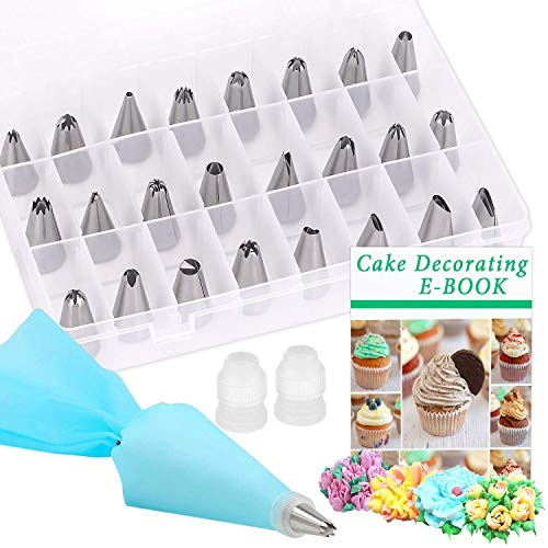 28 Piece Decorating Kit - Cake Decorating Kit, PEMOTech 28 Piece Icing Piping Tool with 24 Cake Decorating Tips, 2 Reusable Coupler & 1 Reusable Silicone Pastry Bag & 1 Storage Case for Beginner or Professional