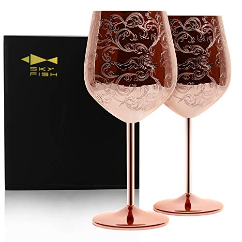 SKY FISH Etched Stainless Steel Wine Glasses With Copper Plated ,Set of 2(17oz)