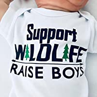Newborn Support Wildlife - Raise Boys Bodysuit, Newborn Boy Clothes, Funny Baby Boy Outfit, Mom of Boys, Baby Shower Gift for Boy, Short Sleeve, White, Up to 12.5 lbs