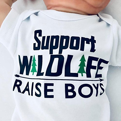 Newborn Support Wildlife - Raise Boys Bodysuit, Newborn Boy Clothes, Funny Baby Boy Outfit, Mom of Boys, Baby Shower Gift for Boy, Short Sleeve, White, Up to 12.5 lbs by I Heart Art and Baby