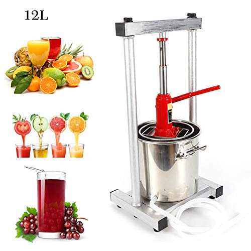 12L Stainless Stee Fruit Press Cider Grape Crusher Juice Maker Fruit Grinder Household Winemaking Machine Filter Equipment +Hydraulic Jack US Warehouse