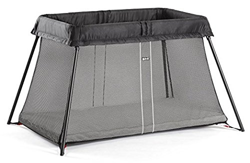 BabyBjörn Travel Crib Light: Easy Fold Portable Crib, Play Yard + Play Pen with Soft Mattress and Carrying Case - Black