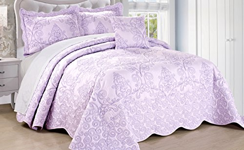 Home Soft Things Serenta Damask 4 Piece Bedspread Set, Queen, Lavender Fog