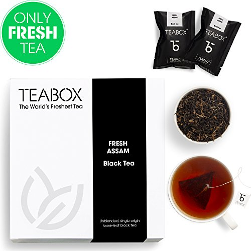Teabox Assam Black Tea, 16 Teabags | 100% Natural Fresh Orthodox Assam CTM Black Tea | Strong Malty Flavor Notes | Sealed-at-Source Freshness from India ()