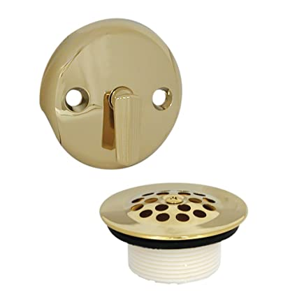 DANCO Trip Lever Bath Tub Drain And Overflow Plate Trim Kit, Polished  Brass, 1