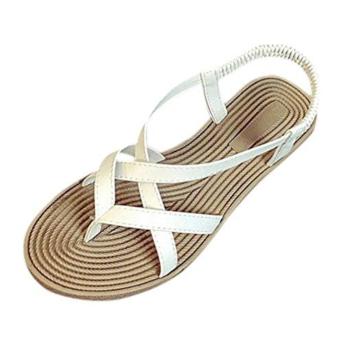 Transer® Damen Sandalen Niedrige Ferse Toepost Kreuzgürtel Elastischer PU-Leder+Gummi Weiß Schwarz Sandalen (Bitte achten Sie auf die Größentabelle. Bitte eine Nummer größer bestellen) Weiß