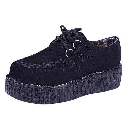 Zapatos para Mujer Zapatillas Redondos Panos Dedo Pie Mujeres Zapatos con Cordones de Tacón Medio Individuales