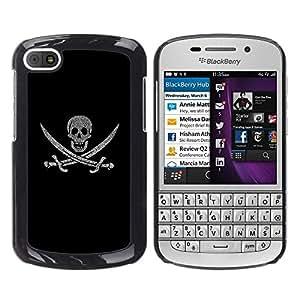 TECHCASE**Cubierta de la caja de protección la piel dura para el ** BlackBerry Q10 ** Pirate Sign Flag Ship Skull Swords Symbol Art