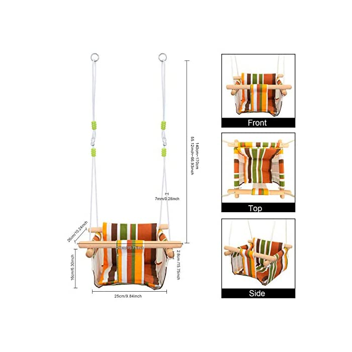 518YLm0JjHL ✅ REASEGURACIÓN - ENVUELTO: Diseñado con un estilo envolvente, construido con 4 tacos de madera lisa de alta calidad para soporte múltiple y manos que lo sostienen. Para evitar que el bebé se caiga o duela, y deja la pierna abierta para un estiramiento flexible. El bebé puede desarrollar naturalmente su equilibrio en un momento feliz de swing. ✅ CALIDAD SATISFACTORIA: Hecho de tela de lino de lino natural y duradera con un toque hipoalergénico, agradable para la piel y plano, lo que hace que no raye la piel del bebé como tienden a hacerlo las bases duras de columpio. Fresco y transpirable en los calurosos días de verano. Pero POR FAVOR, NO deje al bebé solo, independientemente de lo seguro que sea. (Este asiento de columpio de tela para bebé tiene capacidad para un bebé de 6 meses a 3 años de edad hasta 132 lb / 60 kg. ) ✅ DISEÑO CÓMODO: ❤Viene con cojines de almohada suaves y adorables que combinan para un respaldo y una sentada cómodos.❤ Viene con una cuerda ajustable en longitud, rango de 125CM a 145CM, y el cojín desmontable se siente más cómodo y seguro. Creemos que su hijo se divertirá más jugando con él.
