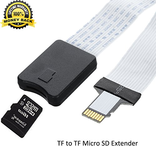 Micro SD Extension SD Card Extension Cable Extender Adapter Flexible Cord Male to TF Flash Memory Card Kit Reader Female Soft Flat for Monoprice Select Mini Anet A8 3D Printer/Raspberry Pi/GPS/TV