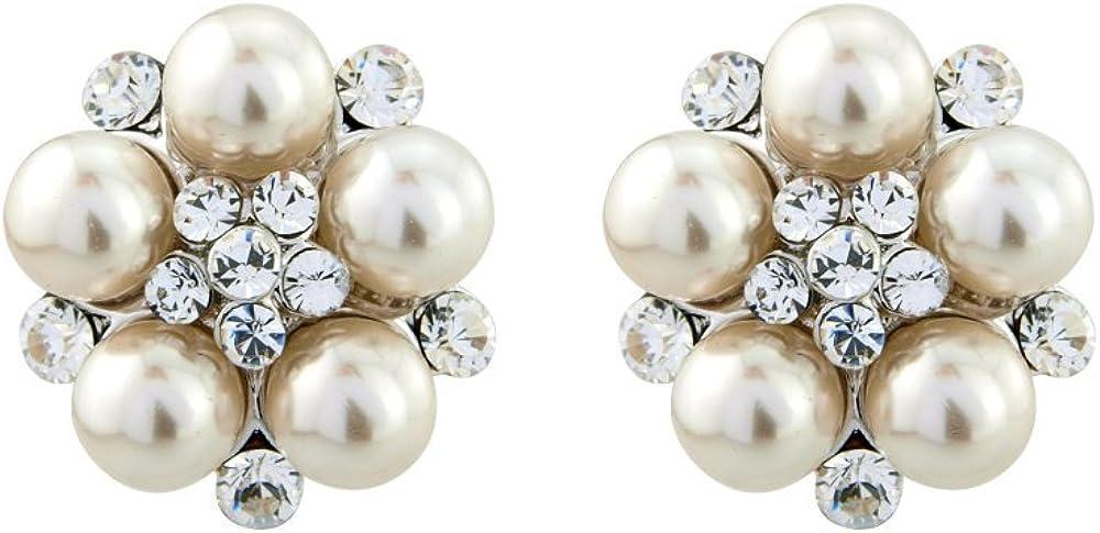 Marfil perla Stud Pendientes, Pendientes de tuerca de novias, pendientes de boda, novia pendientes estilo vintage pendientes, Crystal Pearl Stud Pendientes de perlas