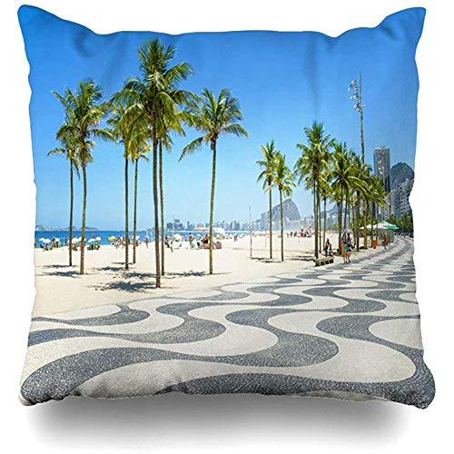 Throw Pillows Cover Cushion Cases Bright Scenic Morning View Iconic Boardwalk Copacabana Beach Rio De Janeiro Brazil Home Decor Pillowcase Square 18 x 18 Inches