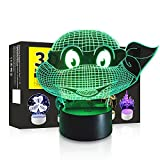 3D LED Night Light Touch Table Desk Optical Illusion Lamp, 7 Colors Changing Lights, Boys Girls Birthday Gift (Ninja Turtles)